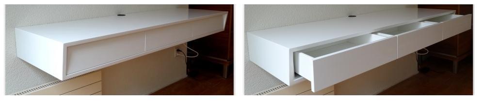 Design Bureau Hoogglans Wit.Zwevend Bureau Home